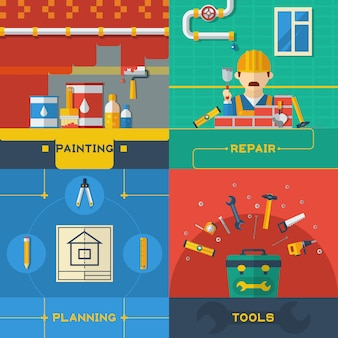 Home reparatie 4 plat pictogrammen samenstelling