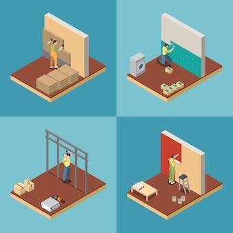 Home reparatie concept, set met herinrichting symbolen isometrische geïsoleerd