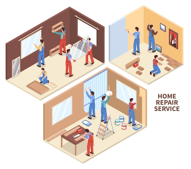 Home reparatie isometrische composities