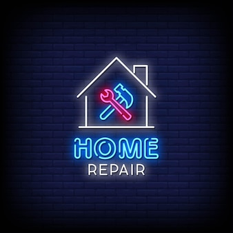 Home reparatie neon signs style text