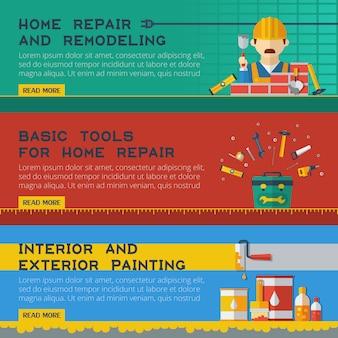 Home reparatie service flat banners ser