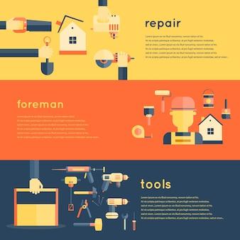Home reparatie tools banners