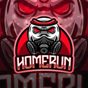 Home run sport mascotte logo ontwerp