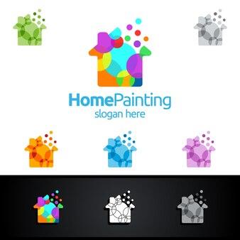 Home schilderij logo met bubble en huis concept