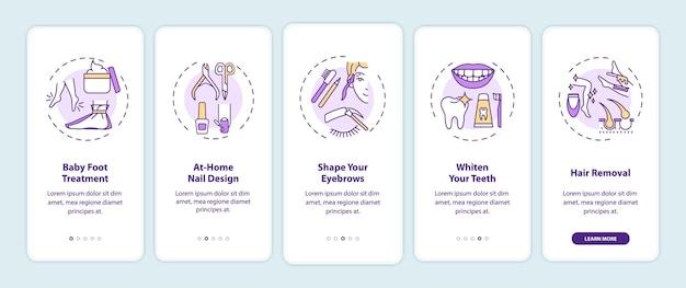 Home schoonheidsprocedures onboarding mobiele app pagina-scherm met concepten. babyvoetbehandeling, nageldesign walkthrough grafische instructies in 5 stappen. ui-sjabloon met rgb-kleurenillustraties