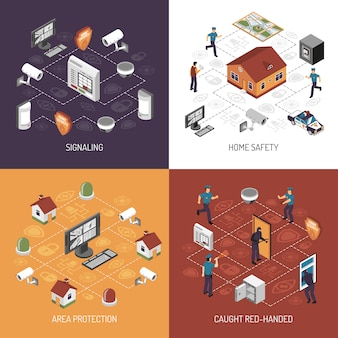 Home security isometric icons square