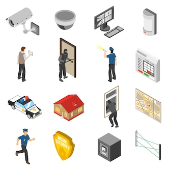 Home security service isometric elements set