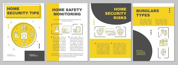 Home security tips gele brochure sjabloon. beschermingssysteem. flyer, boekje, folder afdrukken, omslagontwerp met lineaire pictogrammen. vectorlay-outs voor presentatie, jaarverslagen, advertentiepagina's