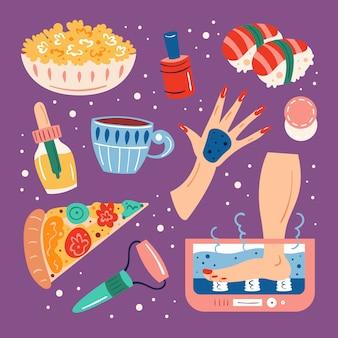 Home spa nacht. schoonheidsproces. huidhaar gezondheidszorg. recreatie, zelfzorg, ontspanning, rust. badkamer, douche. cosmetica, eten, hydromassage, drankjes. vlakke hand getekende illustratie, set, stickers.