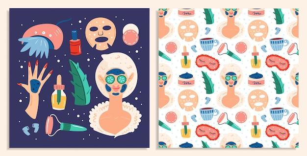 Home spa nacht. schoonheidsproces. recreatie, zelfzorg, ontspanning, rust. vlakke hand getekende naadloze patroon en kaartenset
