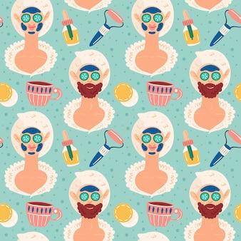 Home spa nacht. vrouw en man. schoonheidsproces. gelukkig goed humeur, glimlach. huidhaar gezondheidszorg. recreatie, zelfzorg, ontspanning, rust. badkamer, douche. vlak hand getrokken naadloos patroon