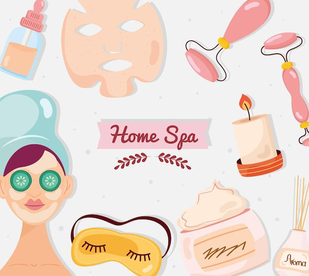 Home spa pictogrammen patroon