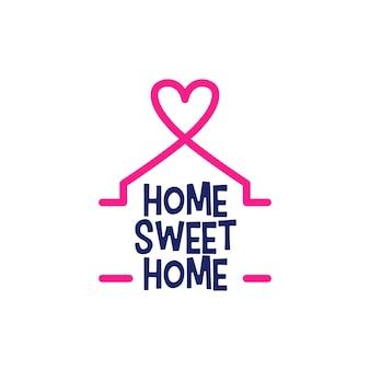Home sweet home belettering huis liefde hart sticker teken logo vector pictogram illustratie
