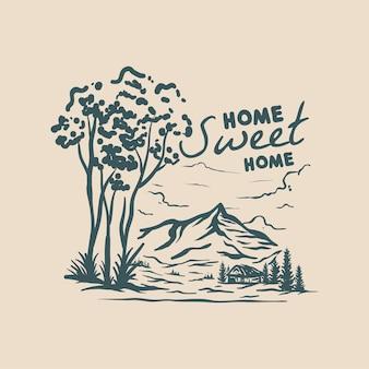 Home sweet home handgetekende illustratie