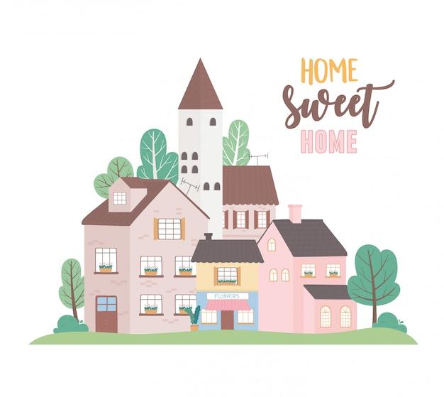 Home sweet home, huizen residentiële commerciële stedelijke architectuur buurt straat