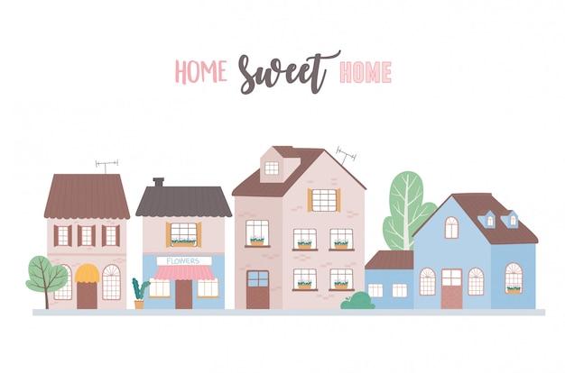 Home sweet home, huizen residentiële stedelijke architectuur buurt straat