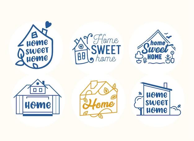 Home, sweet home quotes, creatieve belettering en typografie met huizen in lijnkunststijl