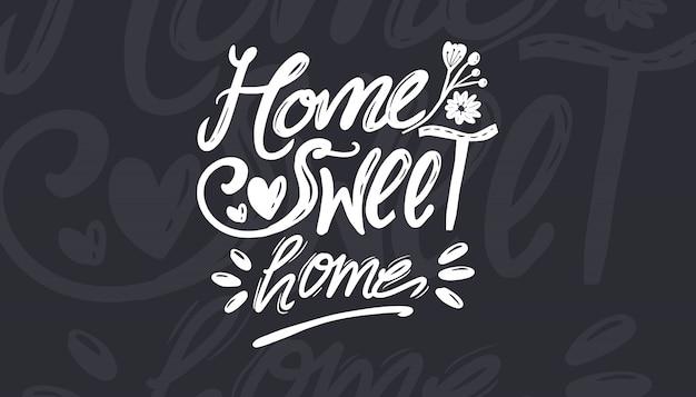 Home sweet home vector typografie set collectie voor afdrukken