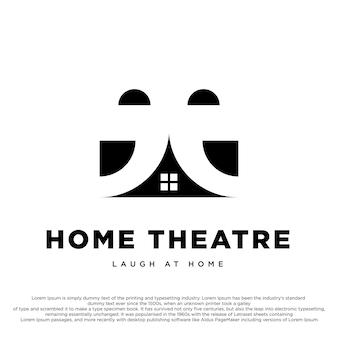 Home theater creatief logo ontwerp theater en huis drama logo ontwerp vector sjabloon
