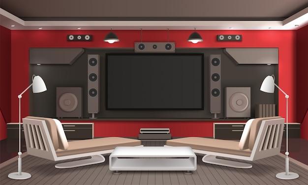 Home theater interieur 3d-ontwerp Gratis Vector