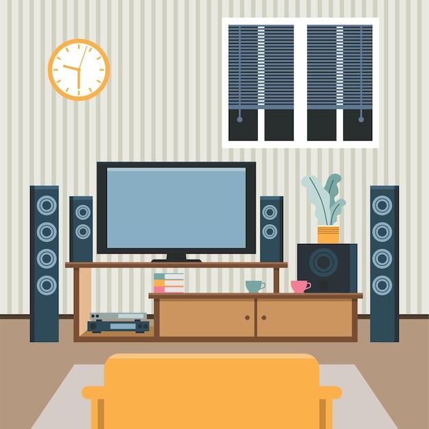 Home theater platte vectorillustratie moderne home media entertainment systeem illustratie