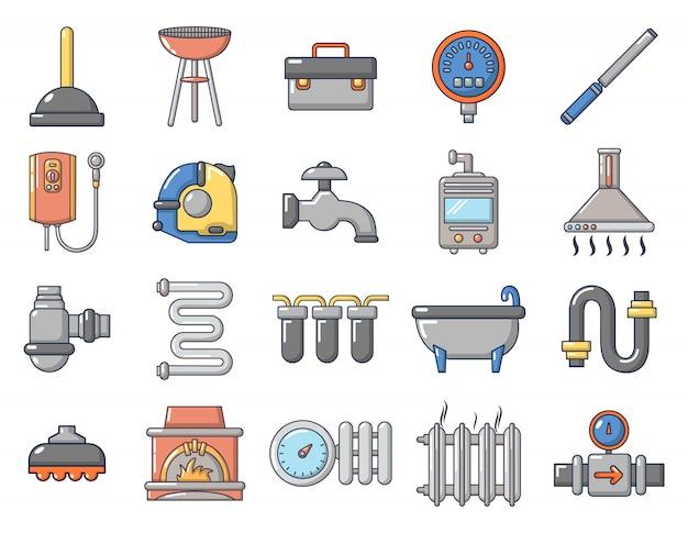 Home tools pictogramserie. beeldverhaalreeks vectorpictogrammen van huishulpmiddelen geplaatst geïsoleerd