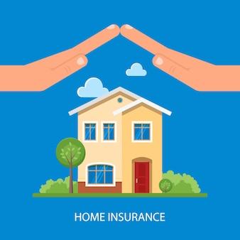Home verzekering illustratie in vlakke stijl