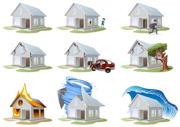 Home verzekering. inboedelverzekering. grote set huisverzekering
