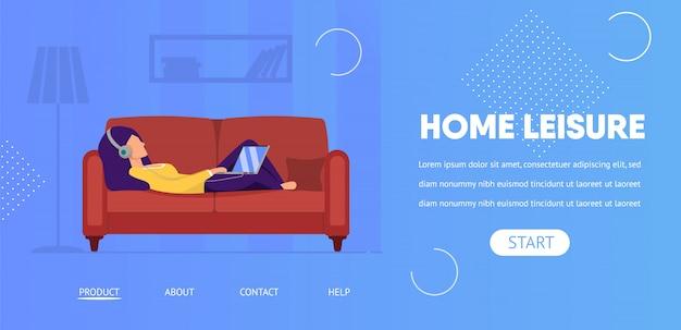 Home vrije tijd horizontale banner. weekend vrije tijd