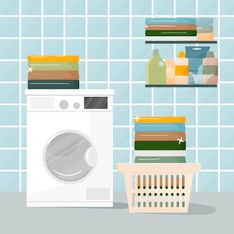 Home wasserij concept. er is een wasmachine met wasmanden, wasmiddel en handdoeken. schoon gewassen linnen, netheid in de was. wassen en schoonmaken concept.