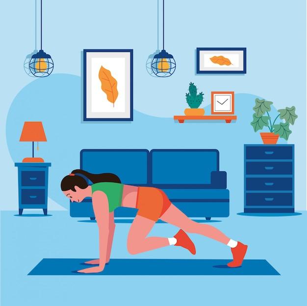 Home workout gezondheid van vrouwen vector
