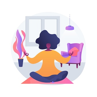 Home yoga abstract concept vectorillustratie. thuisquarantainetraining, online poweryoga-les, stressverlichting, mindfulness, live streaming, thuisblijven, abstracte metafoor op sociale afstand. Gratis Vector