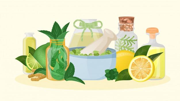 Homeopathische geneeskunde en kruidengenezing, illustratie. natuurlijke aromatherapie met citroen, naturopathie ingridient. bloem