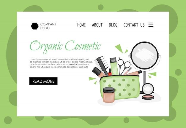 Homepage sjabloon voor schoonheidssalons, cosmetica winkels. cartoon stijl.
