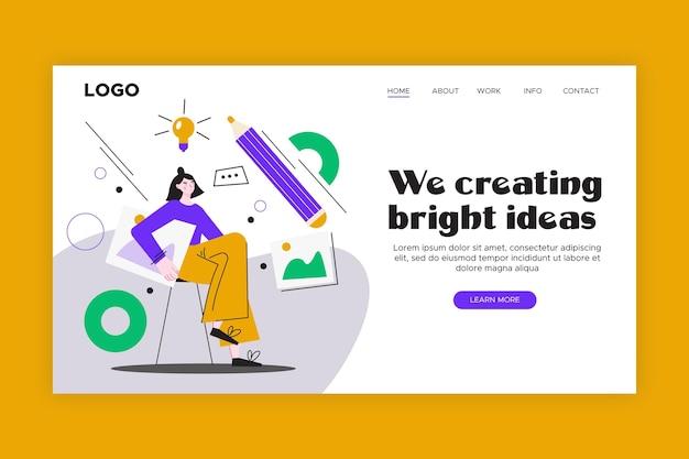 Homepage voor creatieve oplossingen met plat ontwerp Gratis Vector