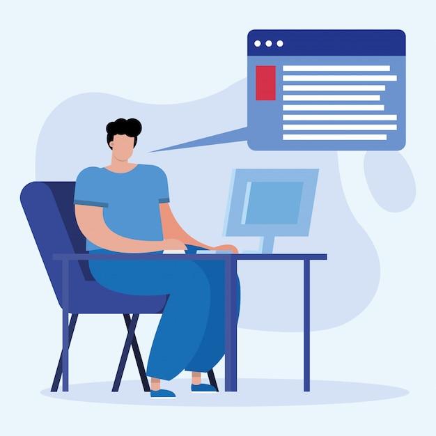 Homeschool online onderwijs met jonge studentenjongen