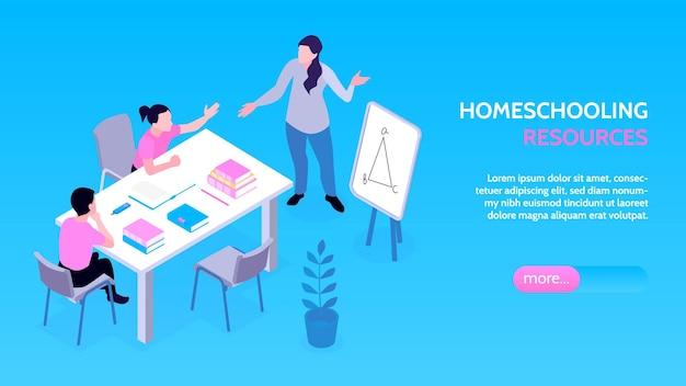 Homeschooling-familie maakt de horizontale banner van de leerruimte
