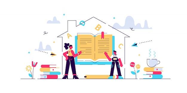 Homeschooling illustratie. flat tiny mind onderwijssysteem personen concept. creatieve en slimme primaire lesmethode voor het leren van kennis in de kindertijd. moeder- of lerarenberoep.