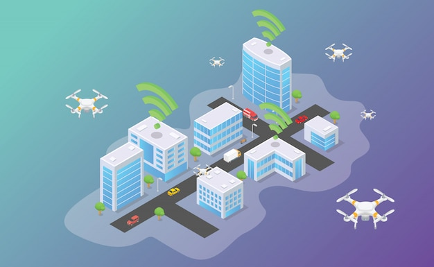 Hommeltechnologie die in slimme stad met isometrische moderne vlakke stijl vliegt
