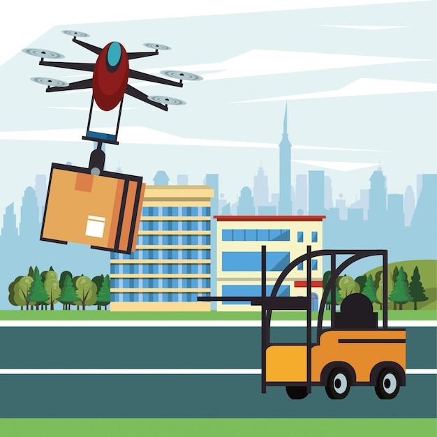 Hommeltechnologie die met doos op de stad vliegt