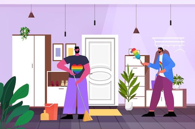 Homo's schoonmaken huis twee mannen huishouding transgender liefde lgbt gemeenschap concept woonkamer interieur horizontale volledige lengte vectorillustratie