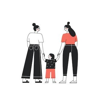 Homopaar leert baby lopen gelukkige lesbische familie lesbisch koppel brengt tijd door met kind