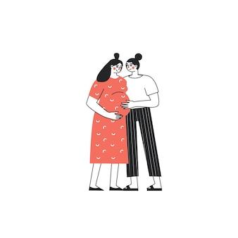 Homopaar verwacht een baby scène met lesbische familie die knuffelt lesbisch stel wacht op baby
