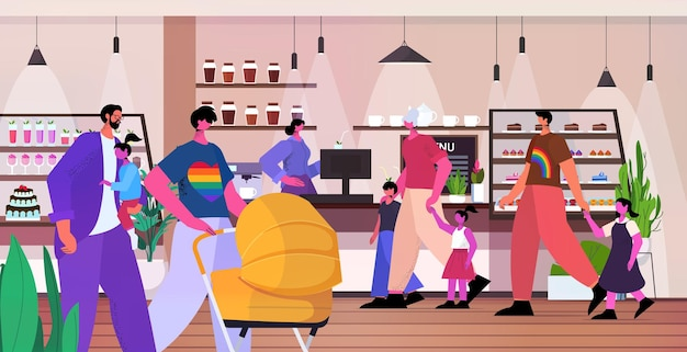 Homoseksuele lesbische gezinnen die tijd doorbrengen in café transgender houden van lgbt-gemeenschapsconcept horizontaal