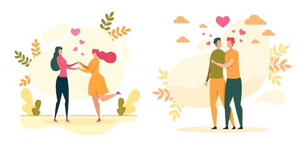 Homoseksuele liefde, relaties illustratie