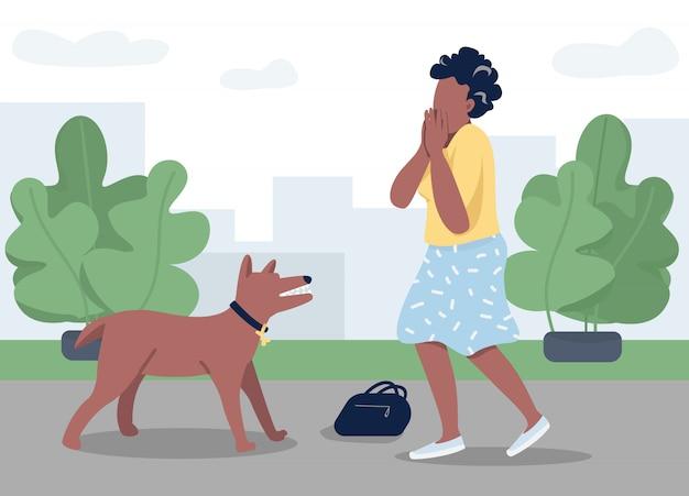 Hond aanval egale kleur illustratie