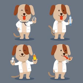 Hond als huisdier arts platte karakter illustratie