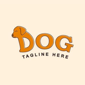 Hond belettering logo vlakke stijl vector ontwerp