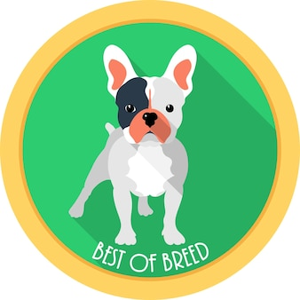 Hond beste van het ras medaille pictogram plat ontwerp