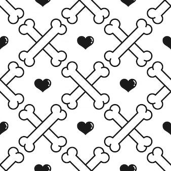 Hond bot naadloze patroon hart valentijn